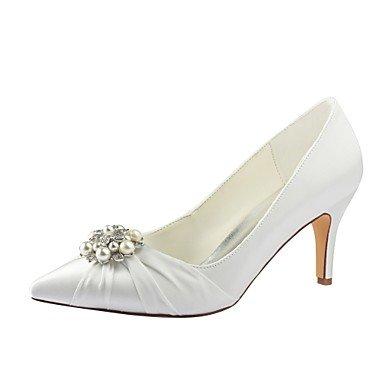 Mejor 4U? Zapatos de mujer elástico satén primavera caída Basic Bomba boda zapatos stiletto talón punta Toe Crystal Pearl para boda fiesta noche marfil beige