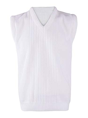 - REAL LIFE FASHION LTD. Adult Sleeveless Bowling Knitted 7G Warm Sweater Mens V Neck Casual Slip Over#(White Sleeveless Knitted Bowling 7G Sweater#2X-Large#Mens)