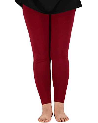 Women's Plus Size Solid Soft Stretchy Slimming Bamboo Capri Leggings Elastic Waist Full Length Casual Modal Pants Wine Red 2XL (US Size M)