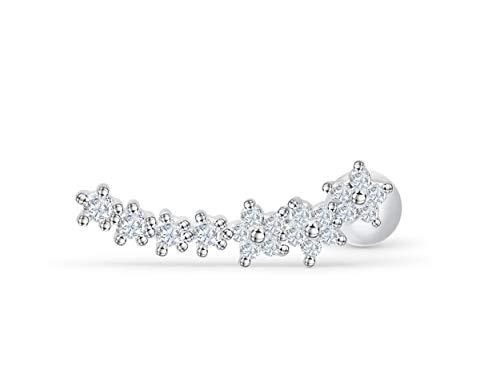 ONDAISY 14k Rhodium Plated Simulated Diamond Cz Long Curved Cute Constellation Flower Star Ear Barbell Ball Stud Earring Piercing