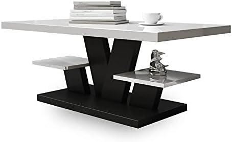 Viva – Couchtisch Weiß Hochglanz mit Zwei Regalen, Wohnzimmertisch Modern – Beistelltisch Sofatisch Coffee Table, Möbel Wohnzimmer 110x60x45 cm (Schwarz)