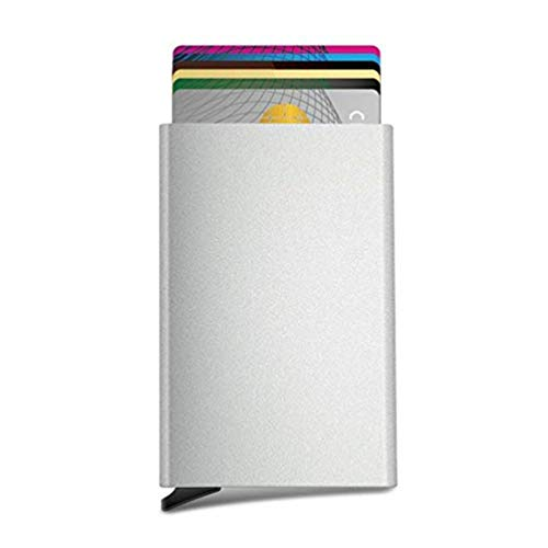 RFID Credit Card Holder,Minimalist Slim Wallet to Hold 6 Cards(Silver) (Best Credit Cards For 640 Score)
