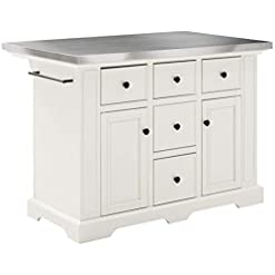 Kitchen Crosley Furniture Julia Kitchen Island with Stainless Steel Top, White modern kitchen islands and carts