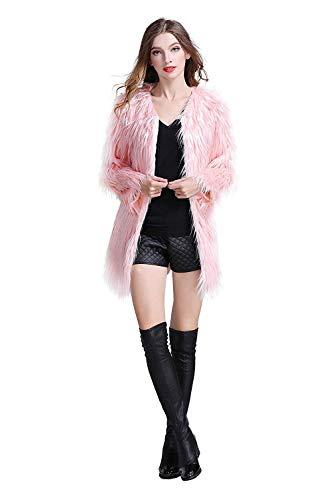 Erencook Pink Women's Faux Fur Coat Long Jacket ()