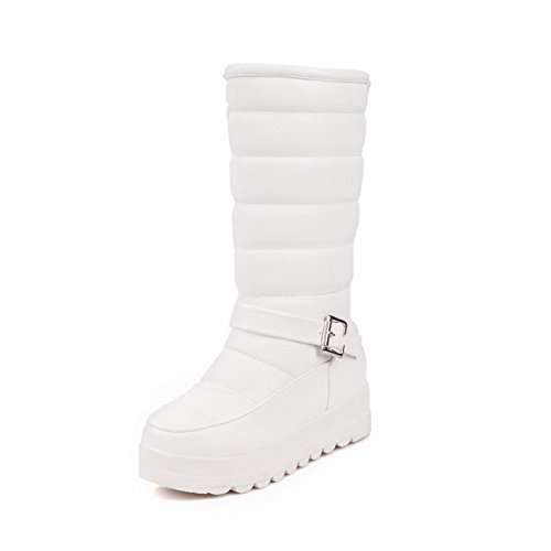 Solid Pull Mid White Kitten Women's on Boots top AgooLar Heels PU Y1gqCw