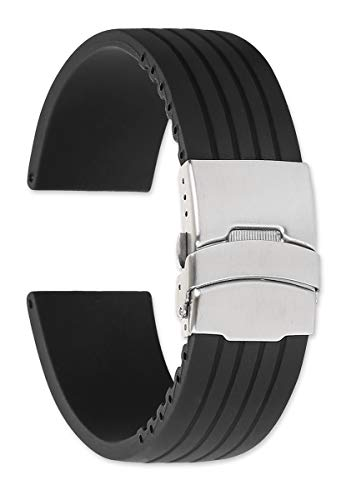 Chrono Strap Rubber (24mm Oris Style Divers Clasp Rubber Watchband - Black)