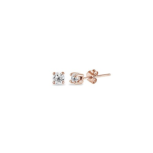 Rose Gold Flashed Sterling Silver Cubic Zirconia 2mm Round Stud Earrings for Men Women Teens
