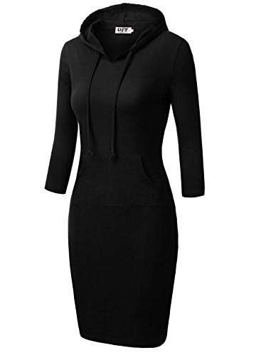 DJT Womens 3/4 Raglan Sleeve Hoodie Dress with
