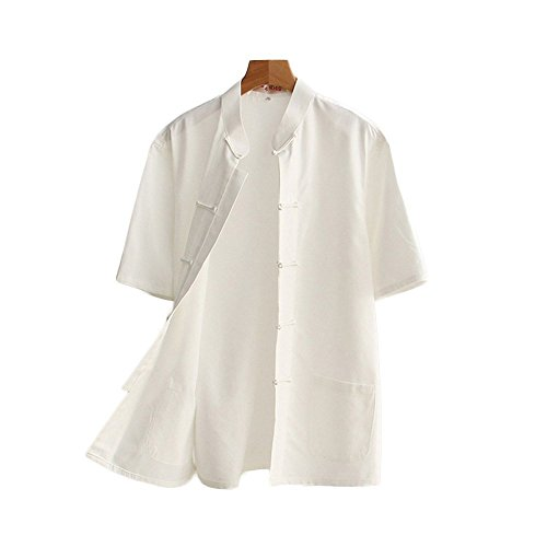 ZooBoo Men 's Tang Suit Summer Short - Sleeved Shirt Cotton Shirts (M, White)
