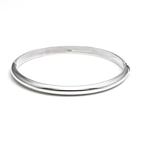 - Silverly Women's .925 Sterling Silver 5 mm Round Hinged Stackable Bangle Bracelet