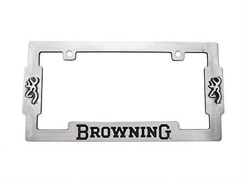 Browning Buckmark Logo Aged Nickel Finish License Plate Metal Frame (Plates Browning)