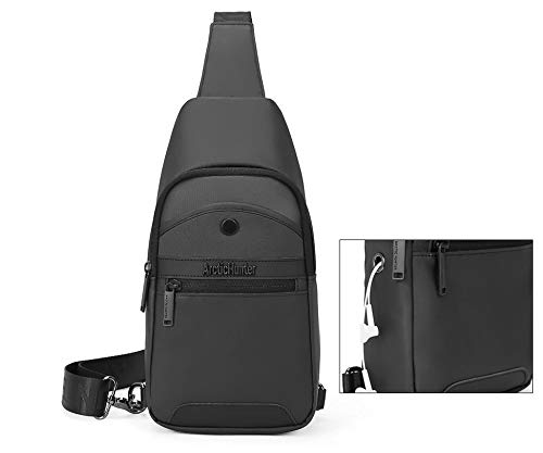 ah arctic hunter Polyester Sling Bag Water Resistant Cross Body Outdoor Cycling Chest Shoulder Fashion Bags with External Mobile Zipper Pocket Earphone Port for Men and Women (Black)