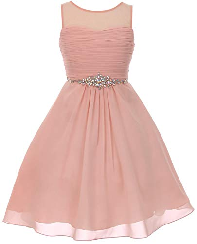 Chiffon Pleated Glitter Rhinestone Easter Summer Flower Girls Dresses Big Girl Blush 14 CC 5011