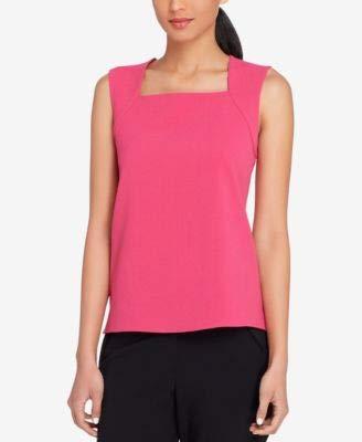 Tahari ASL Womens Petites Textured Square-Neck Shell Pink 2P