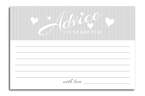 Home Advantage - 4x6 Advice and Wishes for The Bride to Be, Set of 50 (White)