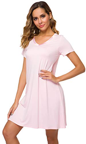 WiWi Women's V Neck Bamboo Nightgown Soft Short Sleeve, Pink, Medium