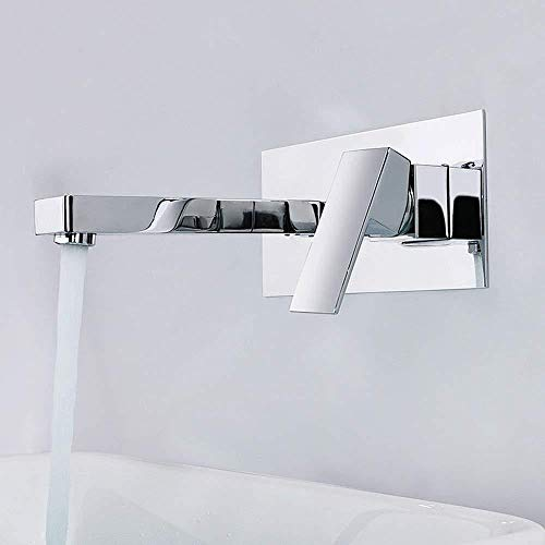 PATNICK Chrome 2 Hole Concealed Washbasin Tap,Bath Wall Mounted Faucet Single Lever Mixer Tap Wall Mount Washbasin Tap Brass Projection ()