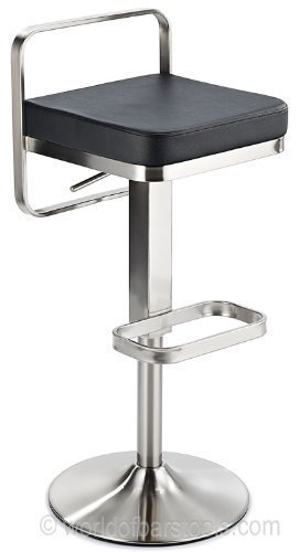Solace Brushed Steel Bar Stool Black