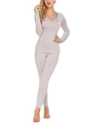 Asatr Womens Thermal Underwear Set 2 Pcs Sleepwear Slim Top & Bottom Pajama