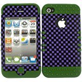 For Apple IPhone 4 4S 4G PURPLE BLACK CHECKERS DG-3D312 HYBRID 2-1 SHOCKPROOF KOOLKASE CASE WITH ARMY GREEN SILICONE SKIN