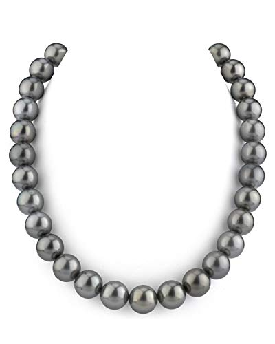 - THE PEARL SOURCE 14K Gold 10-12mm Round Genuine Black Tahitian South Sea Cultured Pearl Necklace in 18