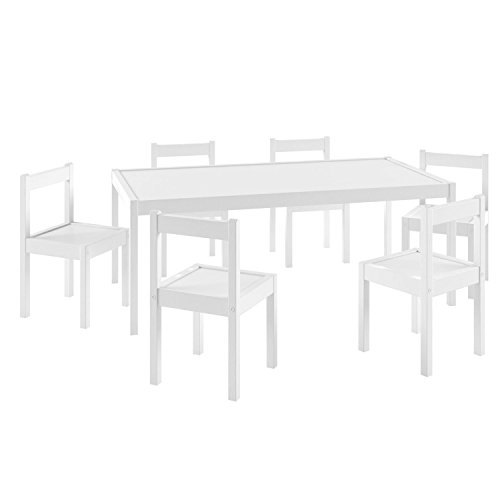 Kid's White Wood Table with 6 Chairs Furniture Set For Use in Children's Room , Daycares , Kids Play Room and Kindergartens by Fasthomegoods