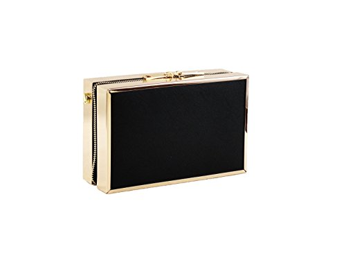 Hearty Trendy Faux Leather Box Minaudiere Clutch Bag with Gold Frame -Black