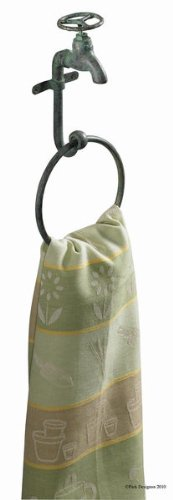 Park Designs Water Faucet Towel Ring Hook Green Patina by Park Designs