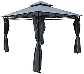 ASS 3x3 Metros pabelon con Elegantes Cortinas 6, el Techo 100% Impermeable, UV30+ 7075A Antracita: Amazon.es: Jardín