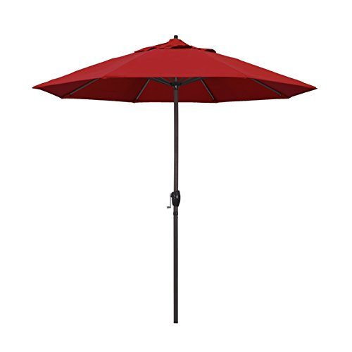 California Umbrella 9' Round Aluminum Market Umbrella, Crank Lift, Auto Tilt, Bronze (Deluxe Auto Tilt Umbrella)