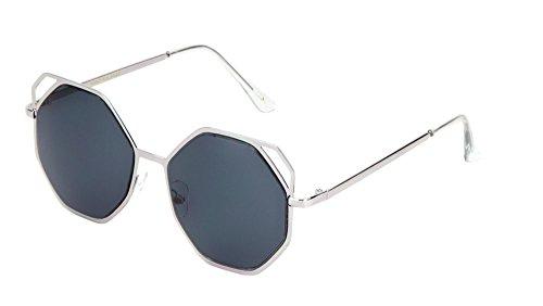 Geometric Sunglasses Flat Lens Metal Cut-Out Accent Corners Runway Fashion (Smoke, 55) -