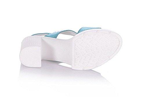 AllhqFashion Mujeres Tacón ancho con Plataforma Sólido Velcro Puntera Abierta Sandalia Azul