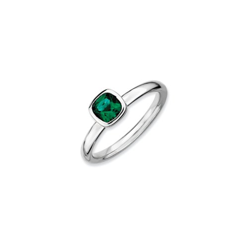 Emerald Bezel Ring (Silver Stackable Cushion Cut Created Emerald Solitaire Ring, Size)