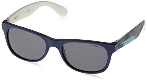 Blute Rectangulaire Lunette Grey Polaroid Camouflage de soleil Blue Enfant P0300 Bleu WqUBIB0wv