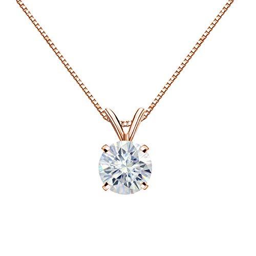 Diamond Wish 14K Rose Gold Round Moissanite Solitaire Pendant 6mm 0.75 TGW in 4-Prong Basket (O.White) 18