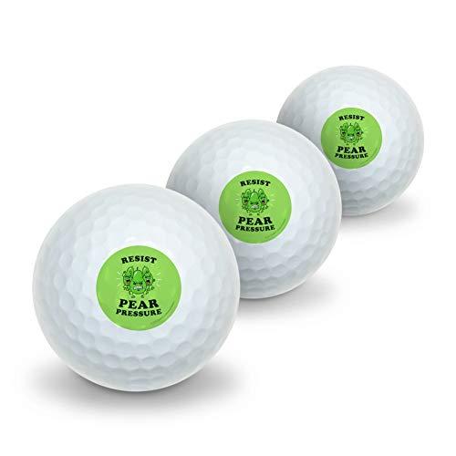 GRAPHICS & MORE Resist Pear Pressure Peer Funny Humor Novelty Golf Balls 3 Pack