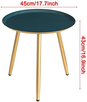 MHKanS Metal Round Side Table 18″ D x 17″ H Tray Table Nightstand Coffee Table End Table
