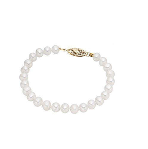 14k Yellow Gold 7-7.5mm Freshwater Cultured AA Quality Pearl Bracelet 7'' by Pearlyta