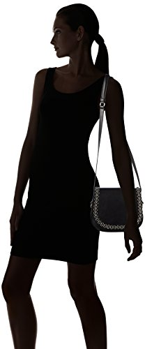 kaviar gauche Petite Bag W.flower Chain - Bolso bandolera Mujer Negro - Schwarz (black/silver)