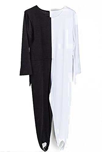 Black And Dance Youtube Costume White (Youtei Black and White Optical illusion tights dance costume (5.7feet(175cm), Black and)