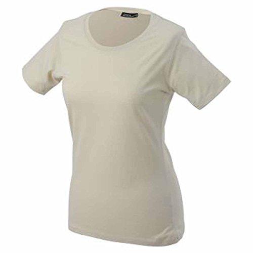JAMES & NICHOLSON - Camiseta - Básico - Cuello redondo - Manga corta - para mujer Piedra
