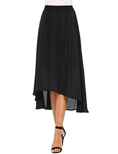 Chigant Womens Elastic Waist Chiffon Skirt Flowy High Low Skirt
