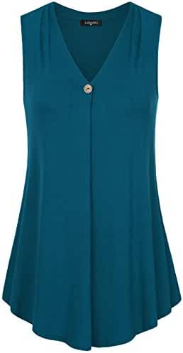 Laksmi Womens Sleeveless Tunic Top,Solid Color V Neck A Line Casual Office Tank