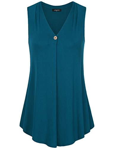 Laksmi Womens Sleeveless Tunic Top,Solid Color V Neck A Line Casual Office Tank (X-Large, Dark - Women Office Hot