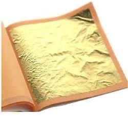 100Blatt Blattgold, 24Karat, 100% echt, Größe 70mm x 70mm