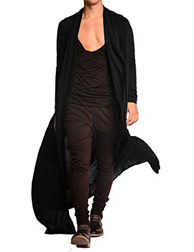 COOFANDY Men's Ruffle Shawl Collar Cardigan Lightweight Cotton Blend Long Length Drape Cape (Large, Black(Long))