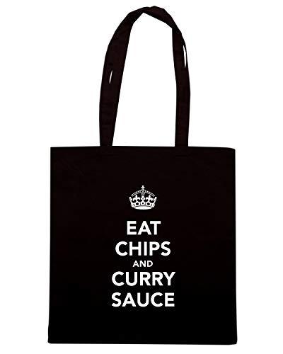 Speed Shirt Borsa Shopper Nera TKC3703 EAT CHIPS AND CURRY SAUCE