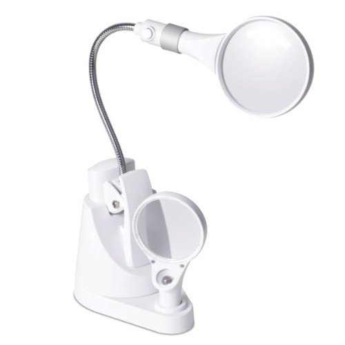 OttLite 15900C  LED Clip and Freestanding Magnifier Lamp, White (Mesa Mission Table Lamp)