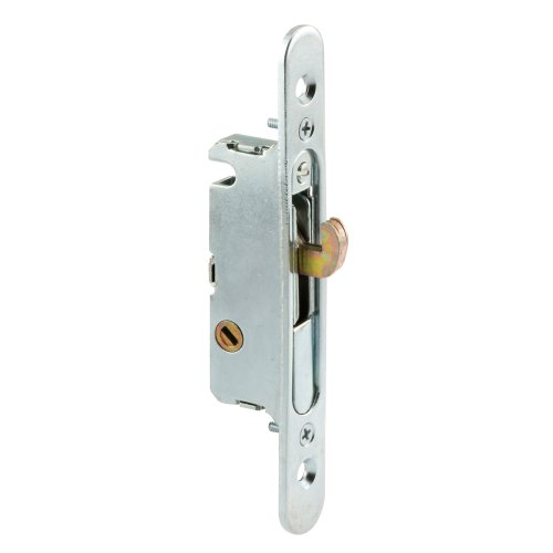 Mortise Latch (Prime-Line Products E 2164 Mortise Lock, 4-5/8 in., Steel, 45 Degree Keyway, Round Faceplate, Spring-Loaded)