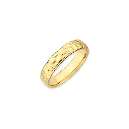 Nugget Jewelry (4.5mm Stackable 14K Yellow Gold Plated Silver Cobblestone Band Size 7)